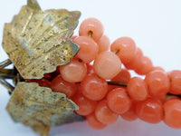 Antique Coral Grapes Brooch Vermeil