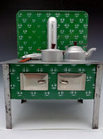 German Antique Toy Green Enamel Stove