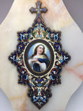 Antique French Holy Water Fount Onyx Champleve~