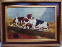 Large Three Fox Hunt Hounds Oil Painting