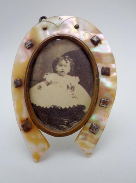 Antique French Mother of Pearl Horseshoe Frame