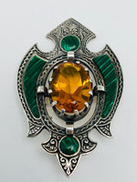 Antique Scottish Pebble Brooch Sterling Malachite