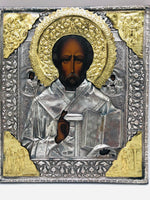 Antique Russian  Icon Saint Nicholas The Miracle worker