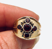 English Hand Crafted Five Garnet Ring 18K