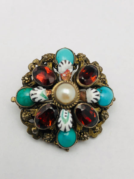 Austro-Hungarian Enameled Garnet Turquoise Pin Brooch