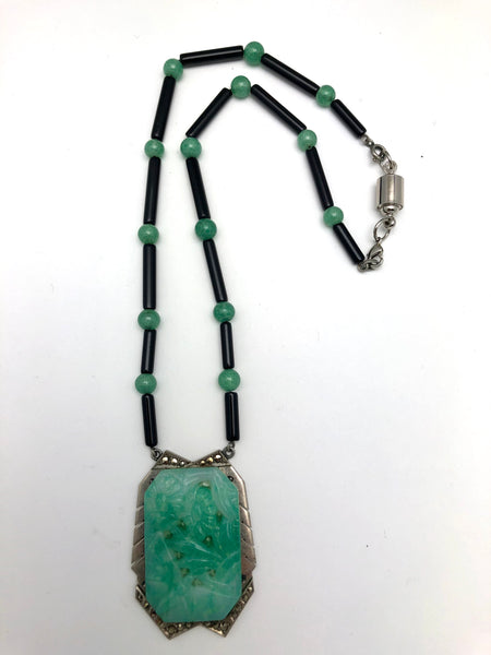 Antique Art Deco Jade Glass Onyx Necklace