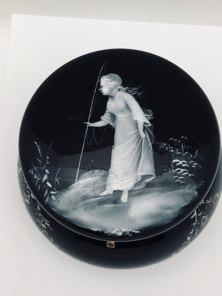 Antique Black Mary Gregory Glass Brady Round Box