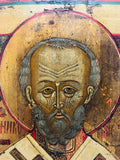 Antique Russian Icon St. Nicholas Oil on Panel