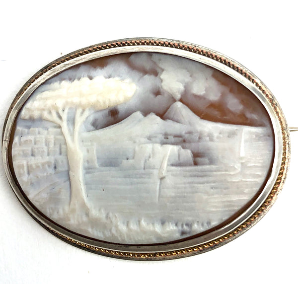 Antique Sterling Cameo Mount Vesuvius
