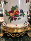 "Porcelain Bronze Jardiniere 17"" Fruit Insects"