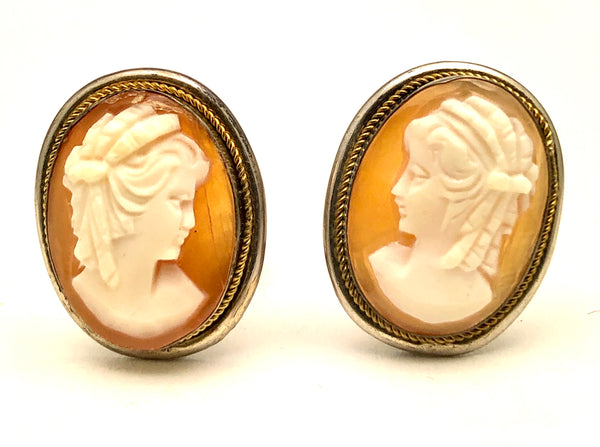 Antique Sterling Cameo Clip Earrings