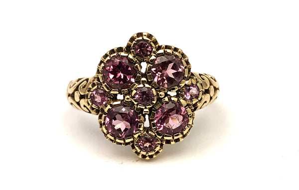 Antique English Pink Tourmaline 10K Ring