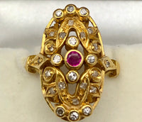 Antique Ruby Diamond Ring 18K