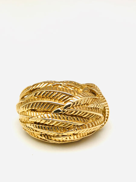 14K Yellow Gold Fern Dome Ring