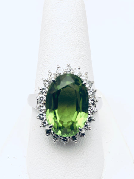 Peridot & Diamond Platinum Cocktail Ring