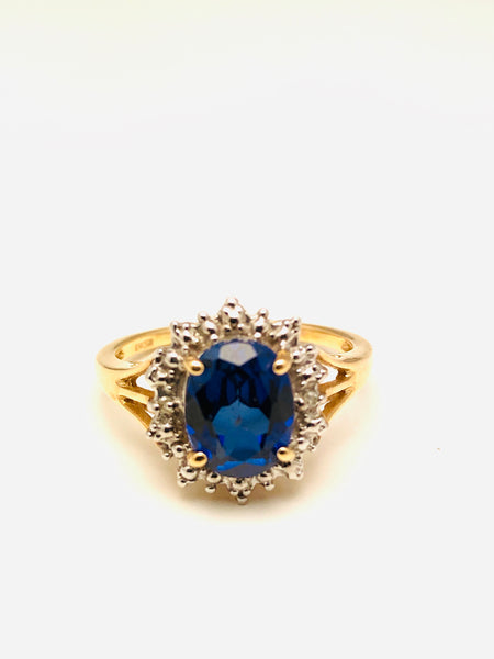 Antique Sapphire Diamond Ring 10k