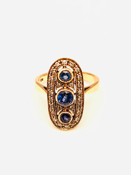 Edwardian Antique Sapphire Diamond Ring 10k