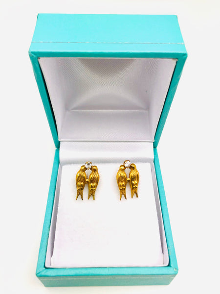 Antique 10K Yellow Gold Love Bird Earrings