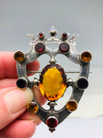 Antique Scottish Sterling Shield Brooch Garnet Topaz