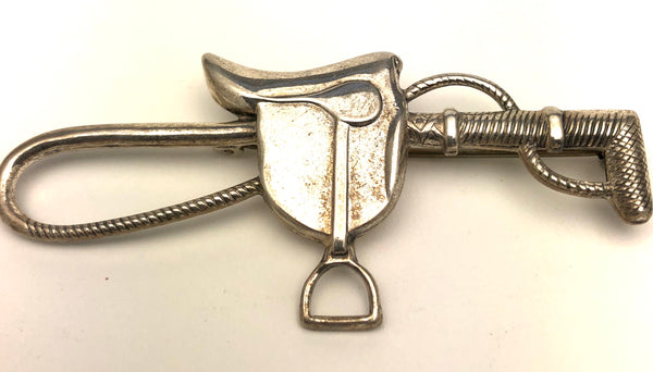 Sterling Silver English Hunt Saddle Crop Brooch