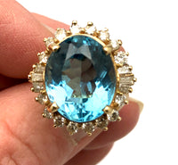 Blue Topaz & Diamond Ring 14K YG