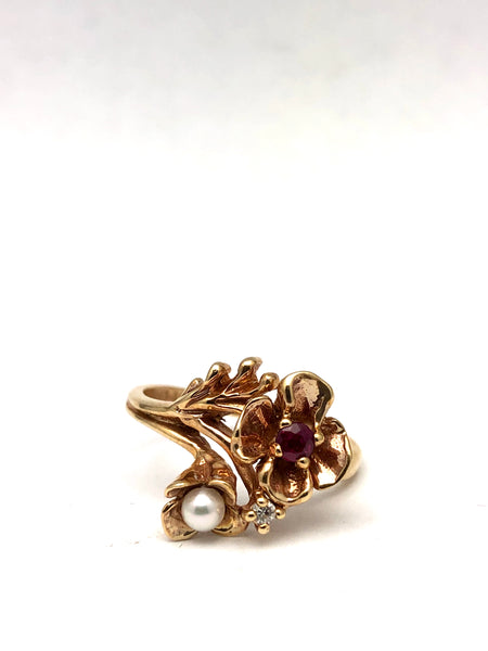 10K Flower Rose Gold Ring Ruby Diamond Pearl