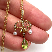 Antique 14K Peridot Pearl Necklace