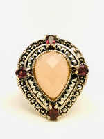 Sterling Silver Rose Quartz Garnet Marquisite Ring