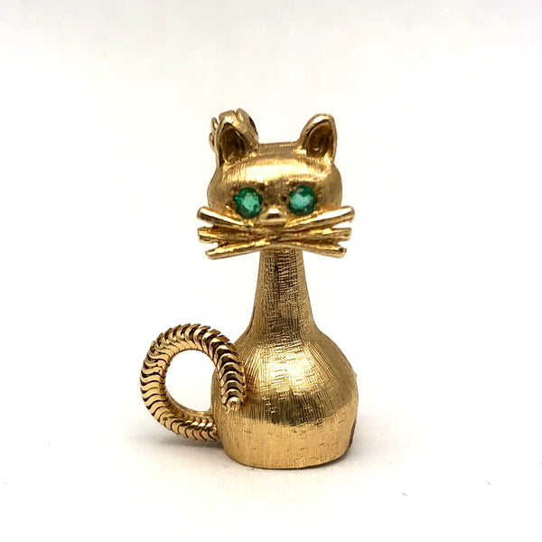 14K Golden Cat Brooch Emerald Eyes