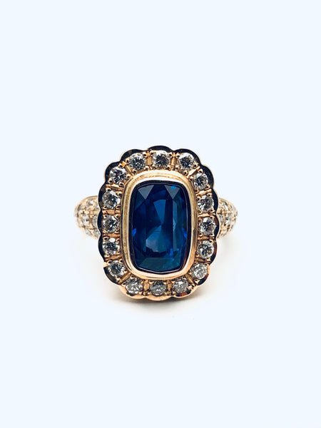 Continental  Bezel Set Sapphire Diamond Ring 18K