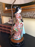 Antique Chinese Porcelain Rosewood Lamp