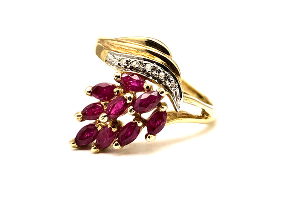Ruby & Diamond Cocktail Ring 14K