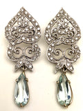 14K White Gold Diamond Aquamarine Earrings