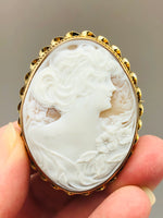 Antique Shell Cameo Brooch 10K