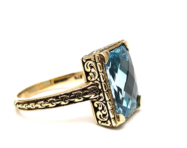 English Antique Cushion Cut Blue Topaz Ring