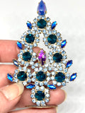 Vintage Czech Crystal Mantle Turquoise Tree # 129
