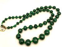 Antique Malachite Bead Necklace 26""