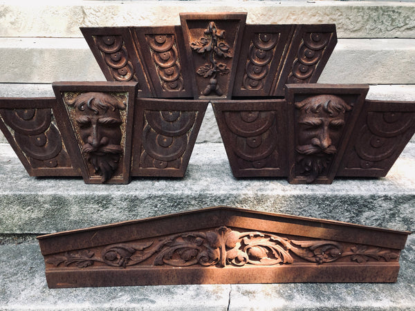 English Victorian Cast Iron Empire Header Pediment