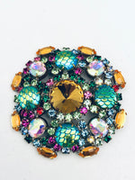 Vintage Czech Iridescent Crystal Fish Scale Brooch Pin