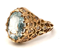14K YG Oval Aquamarine & Diamond Ring