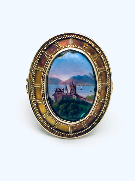 18K Antique Italian Enamel Ring