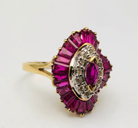 Vintage Ruby Ballerina Baguette & Diamond 14K Ring