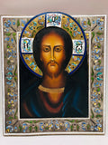 Antique Russian Enameled Christ Icon