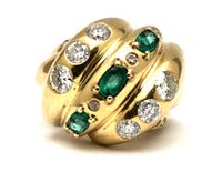 Custom Emerald & Diamond Domed Knot Ring 18K