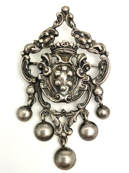 Antique Topazio Sterling Crest Crown Brooch