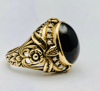 English Antique Cabochon Garnet Pearl Ring