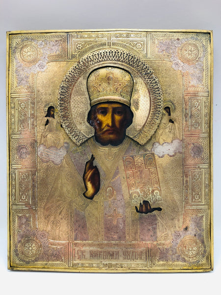 Antique Russian Icon St Nicholas