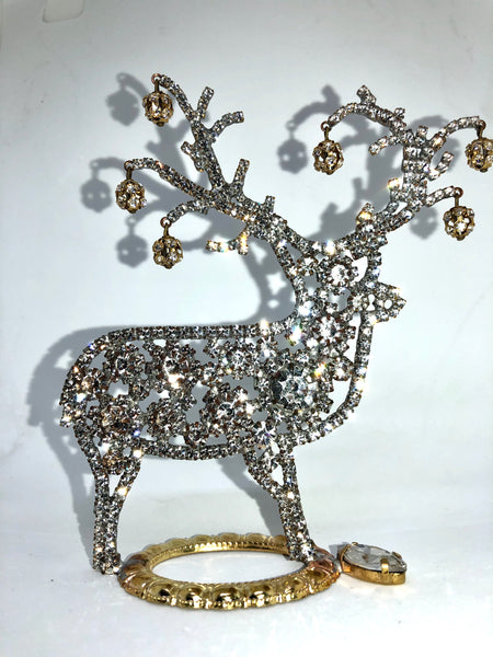Czech Rhinestone Jingle Bells Reindeer R#133