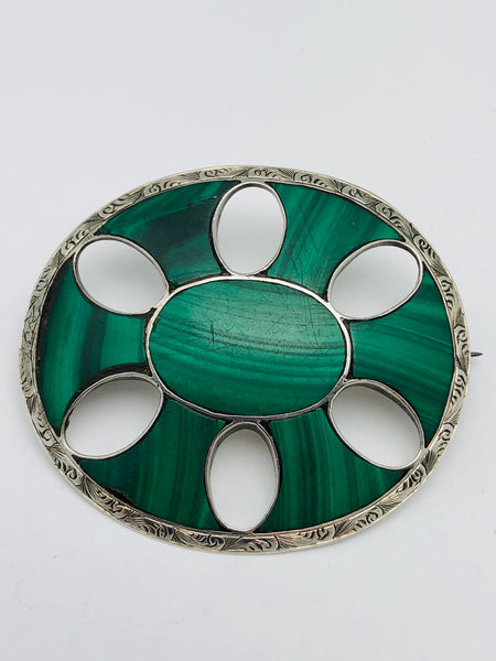 Scottish Sterling Pebble Brooch Malachite