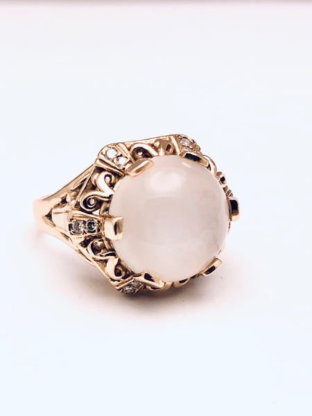 Antique Moonstone Diamond Ring 14K